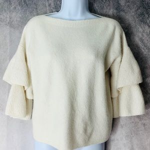 Madewell Ivory Wool Blend Tiered Sweater